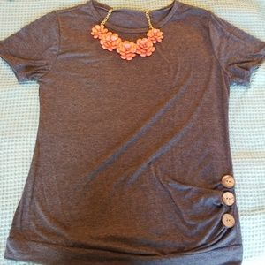Grey Shirt with Button Accents